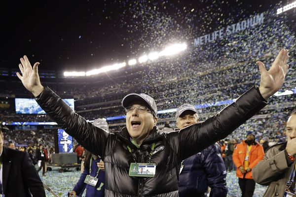 FILE - In this Feb. 2, 2014 file photo, Seattle Seahawks owner Paul Allen celebrates after the NFL Super Bowl XLVIII football game against the Denver Broncos in East Rutherford, N.J. The Seahawks won 43-8. Allen, billionaire owner of the Trail Blazers and the Seattle Seahawks and Microsoft co-founder, died Monday, Oct. 15, 2018 at age 65. Earlier this month Allen said the cancer he was treated for in 2009, non-Hodgkin's lymphoma, had returned. (AP Photo/Mark Humphrey, File)