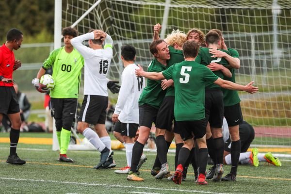 The Colony Knights celebrate a first-half goal during the state high school soccer match against the West Eagles Saturday, May 25, 2019 at Service High. (Loren Holmes / ADN)