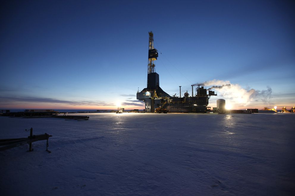 A drill rig works for Repsol at its Colville Delta operations in 2014. Repsol won a dozen leases at the annual state North Slope lease sale with bids released Nov. 15. The company along with Armstrong Energy discovered the promising Pikka prospect in 2014 that's now under development. (Photo/Courtesy/Repsol)