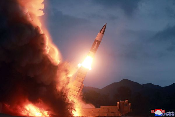 This Saturday, Aug. 10, 2019, photo provided by the North Korean government, shows what it says the launch of a short-range ballistic missile from the east coast of North Korea. North Korea on Saturday extended a recent streak of weapons displays by firing what appeared to be two short-range ballistic missiles into the sea, according to South Korea's military. The content of this image is as provided and cannot be independently verified. Korean language watermark on image as provided by source reads: