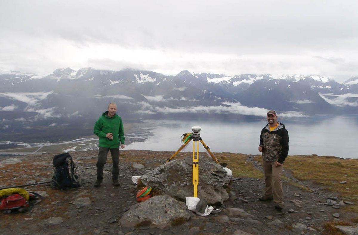 Eric Glaves, left, and Nate Rollin are two members of the four-man Mount Marathon Mapping Project that mapped and measured the iconic mountain overlooking Seward as part of their senior project in 2016. (Courtesy of Eric Glaves)