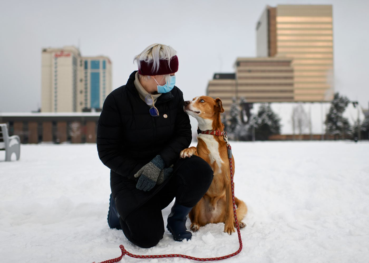 Dr. Andrea Caballero with her dog, Luther, on November 13, 2020. (Marc Lester / ADN)