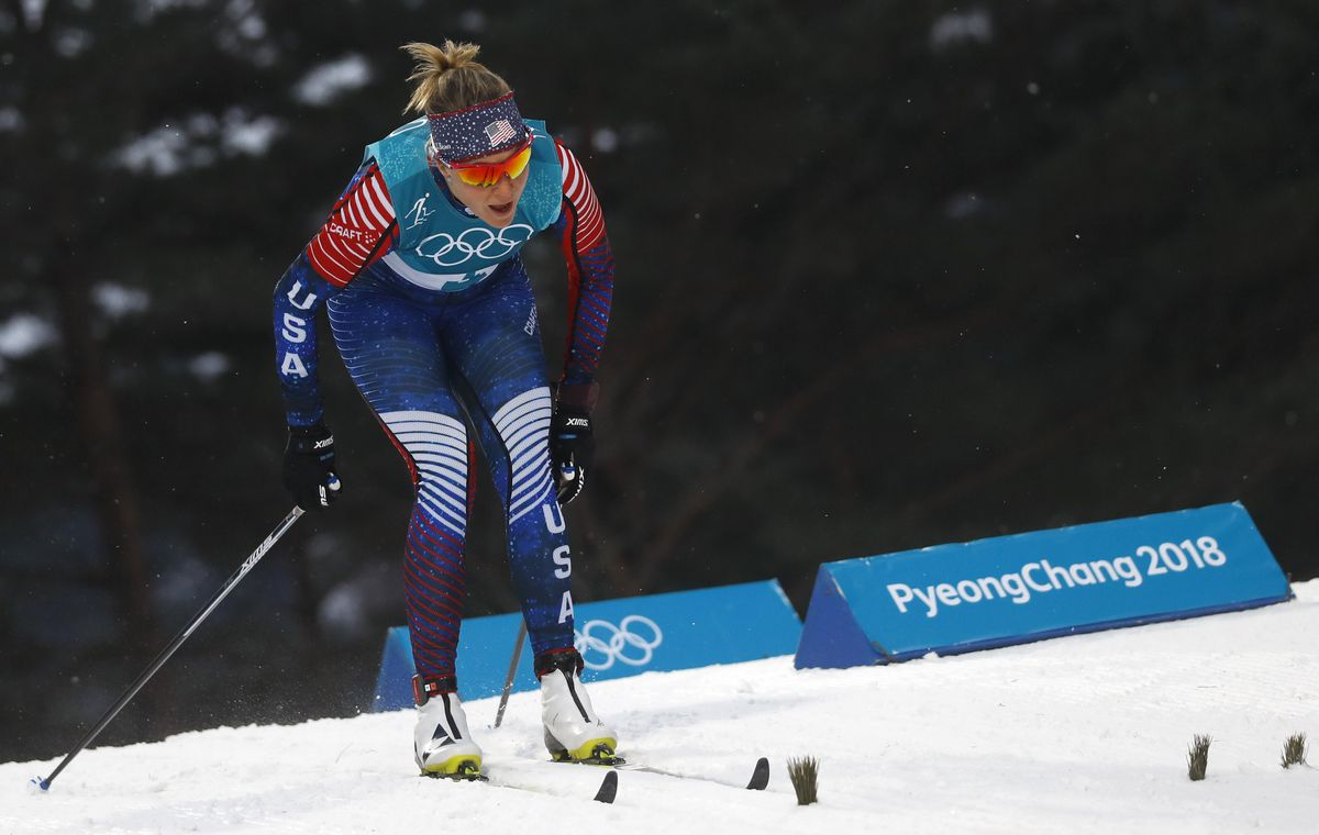 Sadie Bjornsen of Anchorage skies in the women's classic sprint qualifications Tuesday in South Korea. (REUTERS/Kai Pfaffenbach)