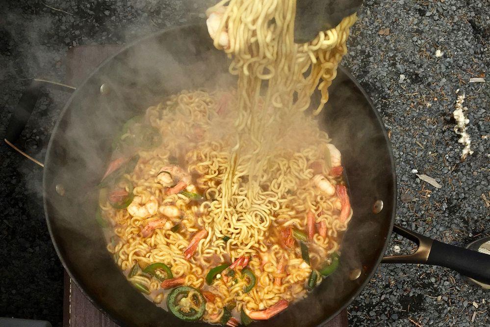 Campfire ramen with fresh, wild shrimp (Photo by Kim Sunée)