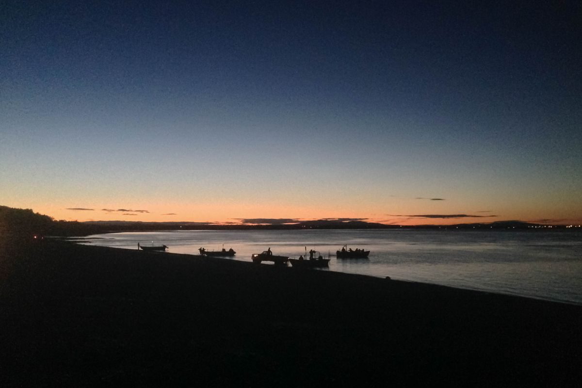 Fishermen get ready to leave Dillingham's Kanakanak beach for an early morning setnet opener in July, 2016. (Molly Dischner / The Bristol Bay Times)