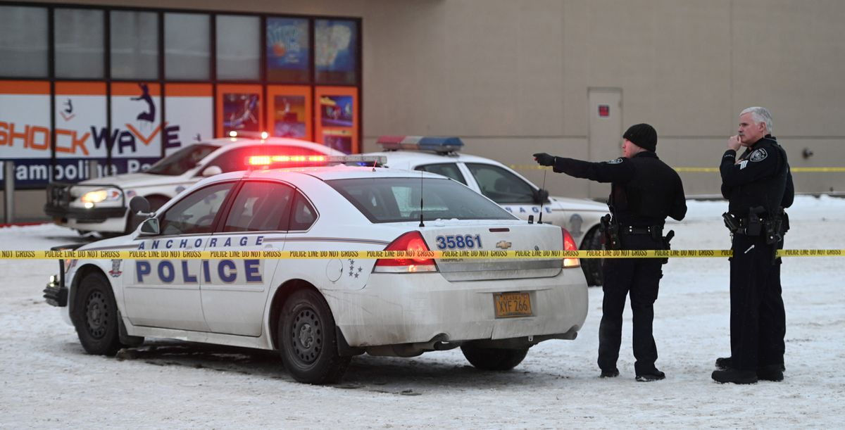 Anchorage police on the scene of an officer-involved shooting at the Northway Mall, Feb. 5, 2020. (Bill Roth / ADN)