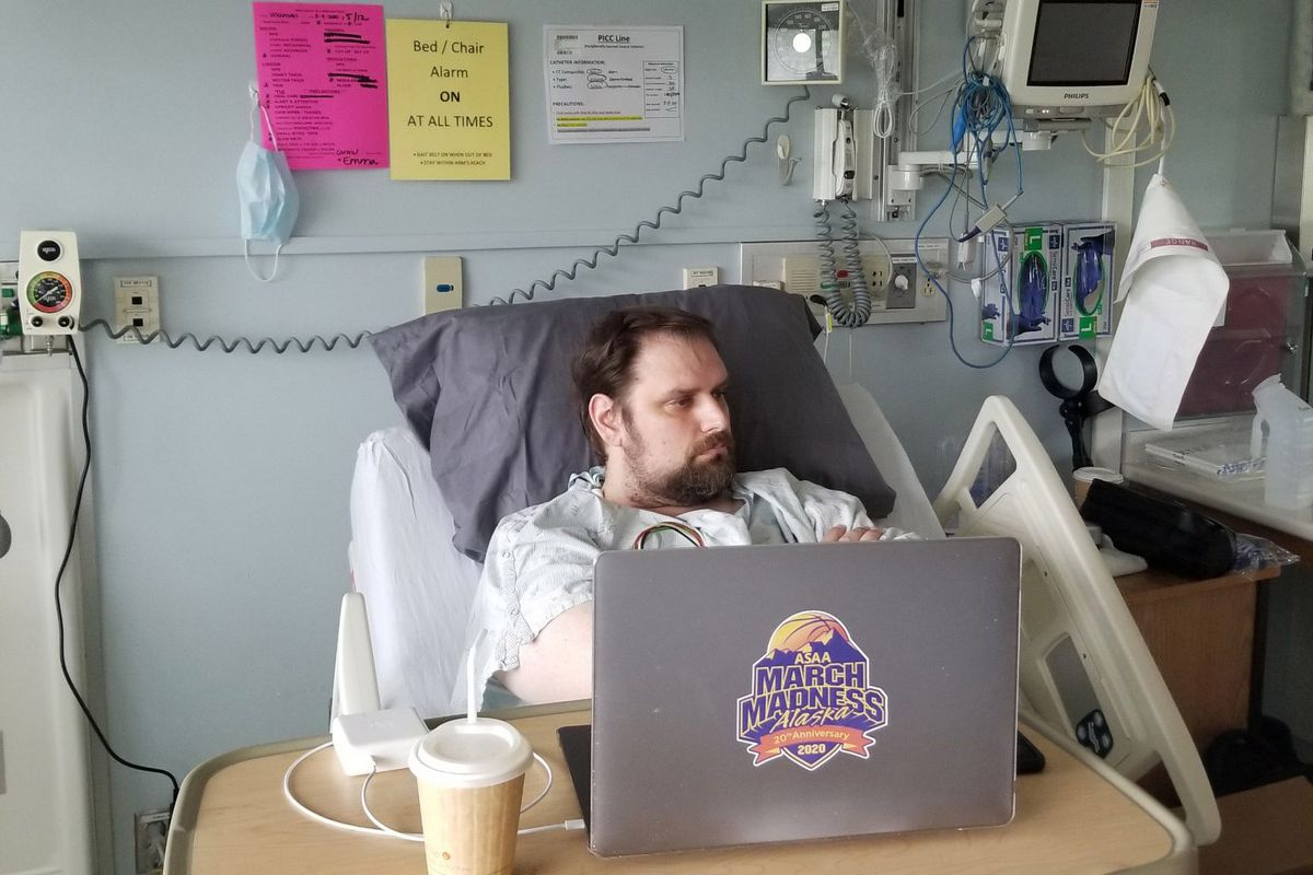 Isaiah Vreeman recovers in his hospital bed after a May 3 heart transplant. Vreeman, 40, is the associate director of the Alaska School Activities Association. (Photo by Jean Vreeman)