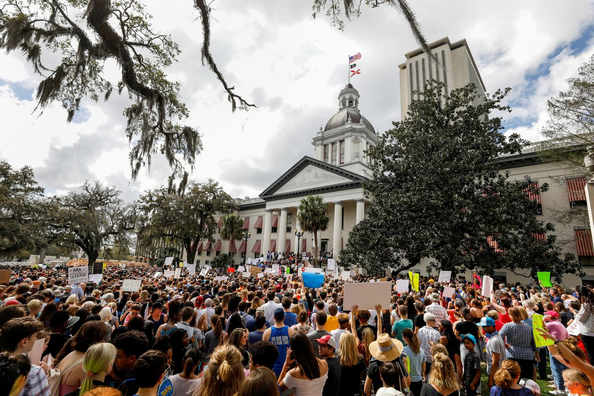 Protestors rally outside the Capitol urging Florida lawmakers to reform gun laws, in the wake ofthe mass shooting at Marjory Stoneman Douglas High School, in Tallahassee, Florida, U.S., February 21, 2018. REUTERS/Colin Hackley
