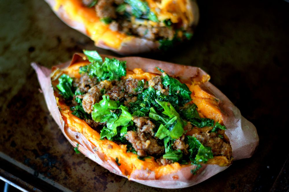 Sweet potatoes with sausage and kale (Maya Wilson / Alaska from Scratch)