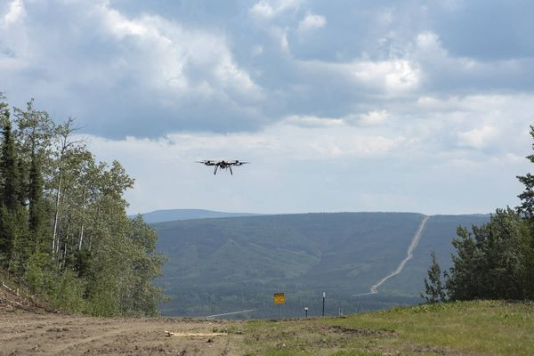The Skyfront Perimeter, a 6.5-foot diameter quad-copter unmanned aircraft system, takes off July 31 over a stretch of the Trans-Alaska Pipeline System north of Fairbanks. The four-mile flight was the first of its kind in the nation testing the ability to fly operations beyond visual line of sight, which is a key step to take advantage of the ability to conduct a multitude of operations such as infrastructure inspections or wildlife monitoring. (University of Alaska Fairbanks photo)