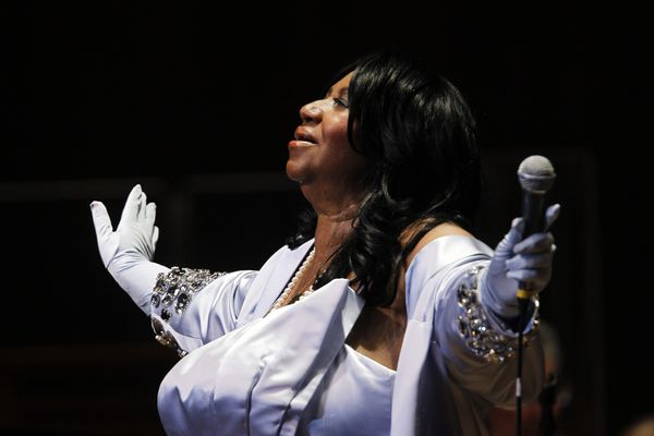 In this July 27, 2010 photo, Aretha Franklin performs at The Mann Center for the Performing Arts in Philadelphia. (AP Photo/Matt Rourke)
