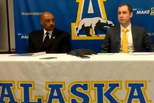 UAF athletic director Kayne Gutierrez (left) and Erik Largen (right), UAF's new hockey coach, appear at a press conference April 30, 2018. (YouTube screenshot)