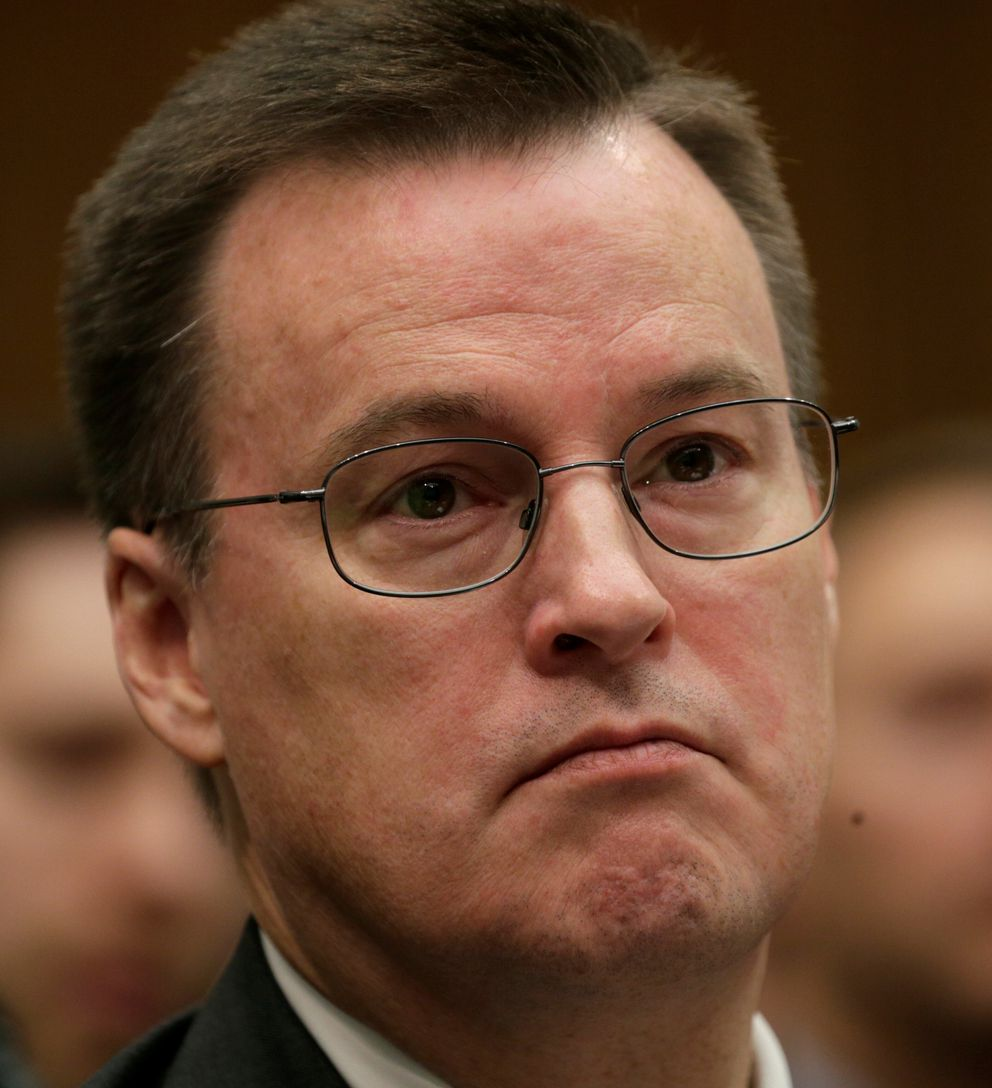 Alaska Airlines senior vice president of Communications and External Relations Joseph Sprague testifies at a House Transportation and Infrastructure Committee hearing Tuesday. (Kevin Lamarque / Reuters)