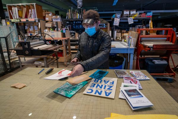 Jimmy Riordan displays zines at Tent City Press on Saturday, Dec. 19, 2020. Riordan is involved with the Anchorage Zine Fair, which this year has moved online due to the pandemic. (Loren Holmes / ADN)