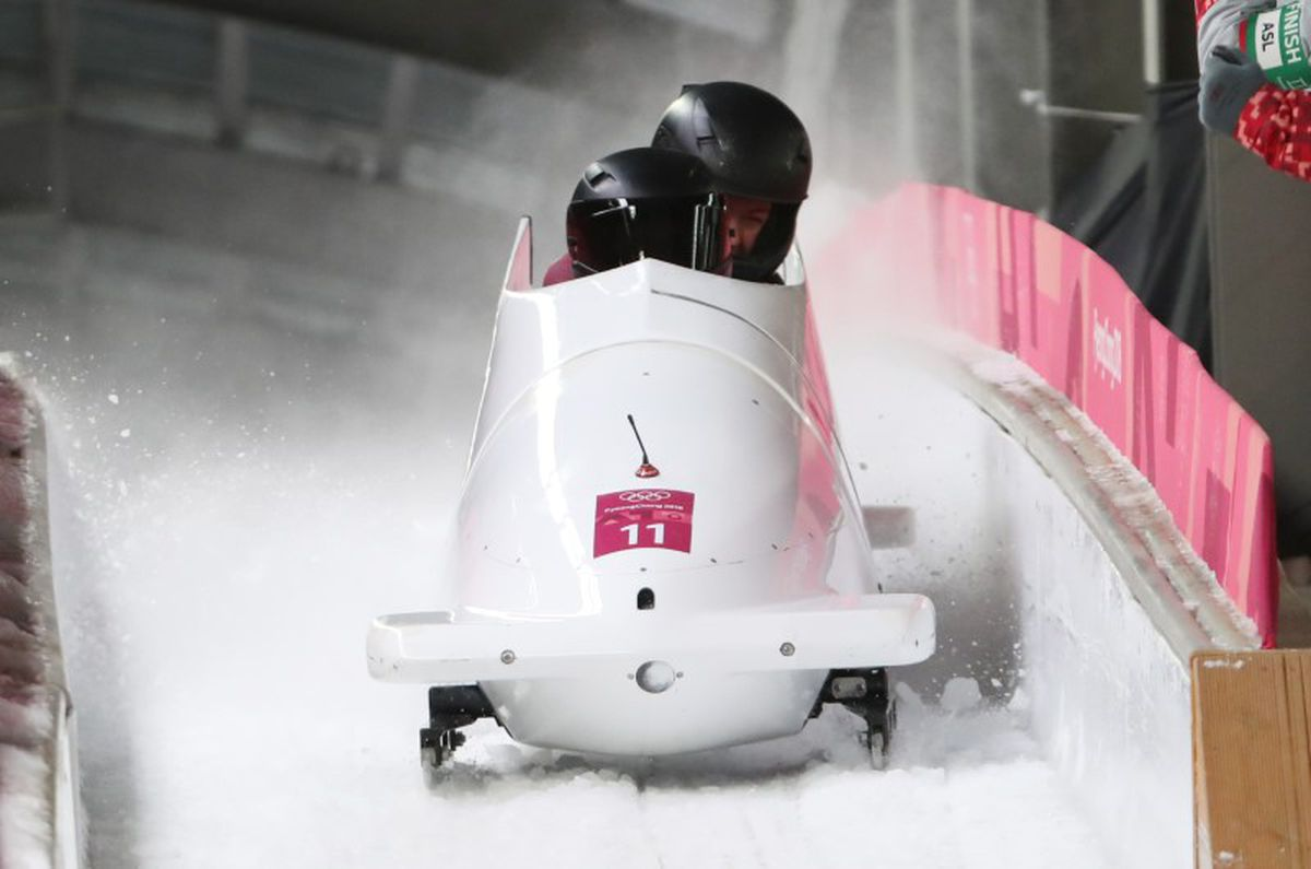 Feb 21, 2018; Pyeongchang, South Korea; Nadezhda Sergeeva and Anastasia Kocherzhova (OAR) during the third run of the women's bobsleigh during the Pyeongchang 2018 Olympic Winter Games at Olympic Sliding Centre. (Eric Seals / USA TODAY Sports)
