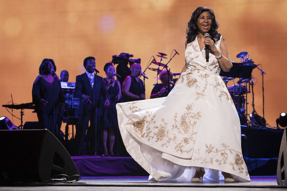 FILE- In this April 19, 2017 file photo, Aretha Franklin performs at the world premiere of 'Clive Davis: The Soundtrack of Our Lives ' at Radio City Music Hall, during the 2017 Tribeca Film Festival, in New York. (Photo by Charles Sykes/Invision/AP, File)