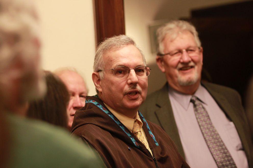 Alaska House Speaker Bryce Edgmon, D-Dillingham, at a Capitol ceremony honoring two former speakers, Mike Chenault and John Harris. (Nathaniel Herz / Alaska Dispatch News)