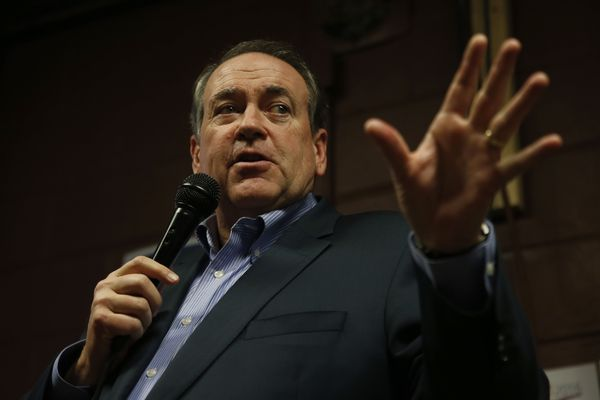 Republican presidential candidate, former Arkansas Gov. Mike Huckabee speaks at Inspired Grounds Cafe, Sunday, Jan. 31, 2016, in West Des Moines, Iowa. (AP Photo/Kiichiro Sato)