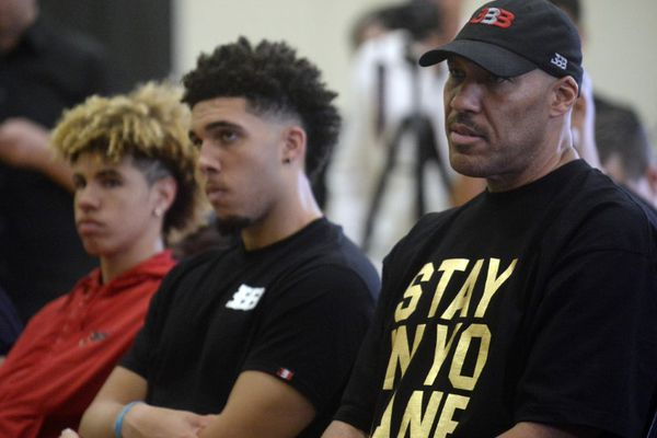 June 23, 2017; Los Angeles, CA, USA; LaVar Ball the father of newly drafted Los Angeles Lakers player Lonzo Ball with sons LaMelo Ball and LiAngelo Ball in attendance at Toyota Sports Center. Mandatory Credit: Gary A. Vasquez-USA TODAY Sports