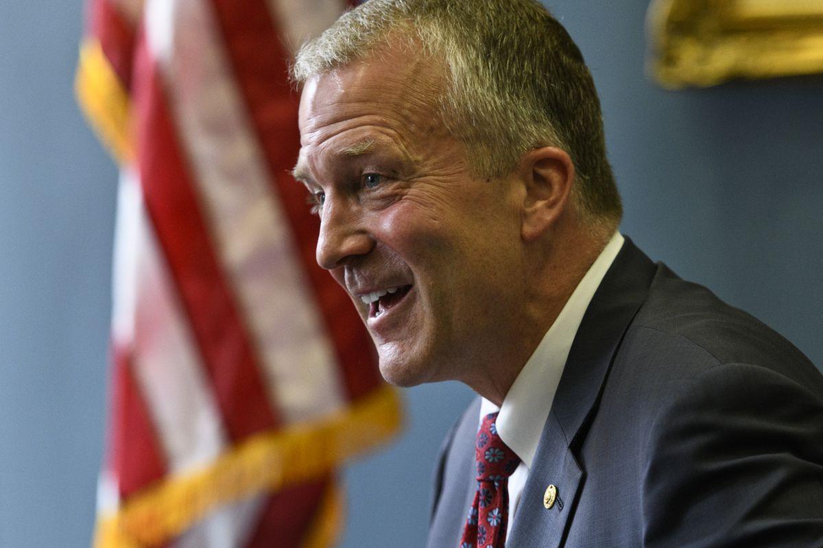 Sen. Dan Sullivan talks in his office with visitors on June 19, 2019. (Marc Lester / ADN)