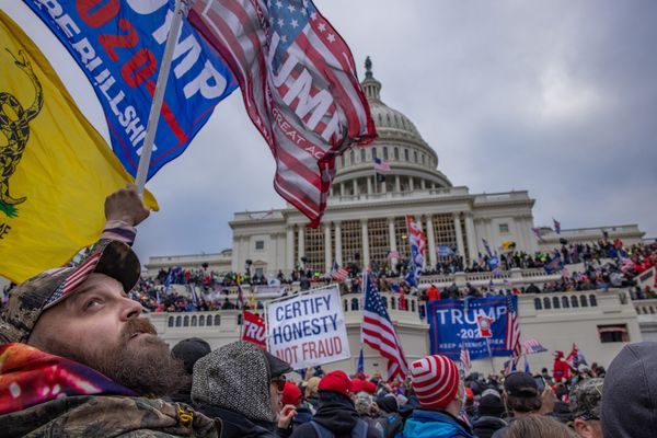 Supporters demonstrate on behalf of President Donald Trump at the U.S. Capitol on Jan. 6, 2021. (Photo for The Washington Post by Evelyn Hockstein)