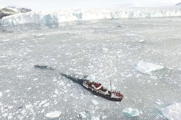 The Oceans Melting Greenland mission carried out depth and salinity measurements of Greenland's fjords by boat and aircraft. MUST CREDIT: NASA.