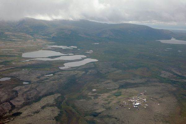 In this file photo, an aerial view of a work camp in the area of the proposed Pebble Mine is seen on Aug. 27, 2013.
