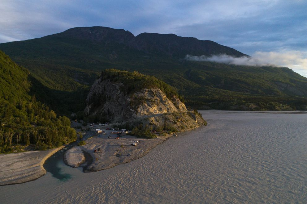 June 29 sunrise at the mouth of O'Brien Creek, south of Chitina, which is a popular spot for dipnetting. (Loren Holmes / Alaska Dispatch News)