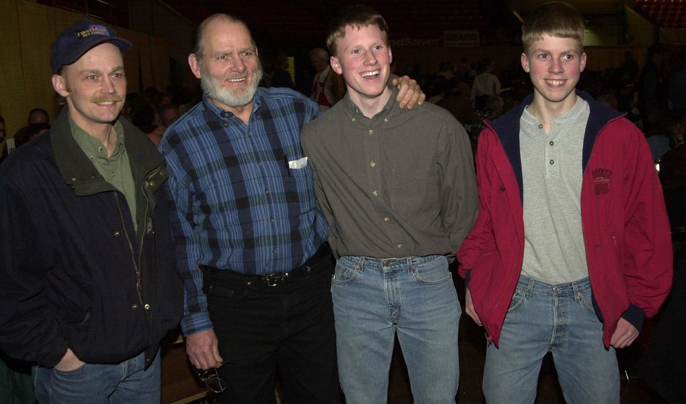 Three generations of Seaveys were together at the 2001 Iditarod Banquet. l-r, Mitch, Dan, Tyrell, and Dallas. (Jim Lavrakas / ADN archive 2001)