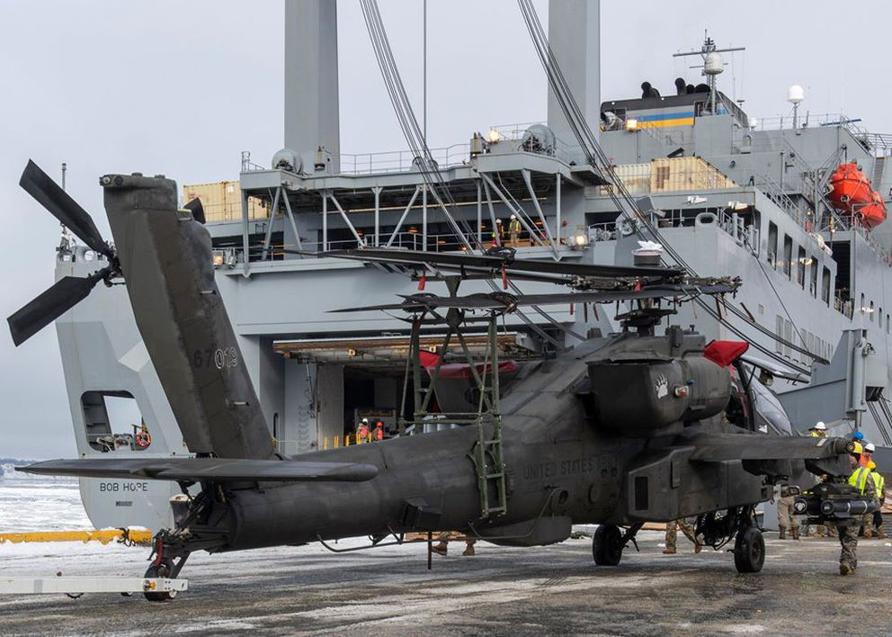 A helicopter is unloaded from the USNS Bob Hope at the Port of Alaska in Anchorage, Alaska on Thursday, March 19, 2020. (U.S. Army Alaska photo)
