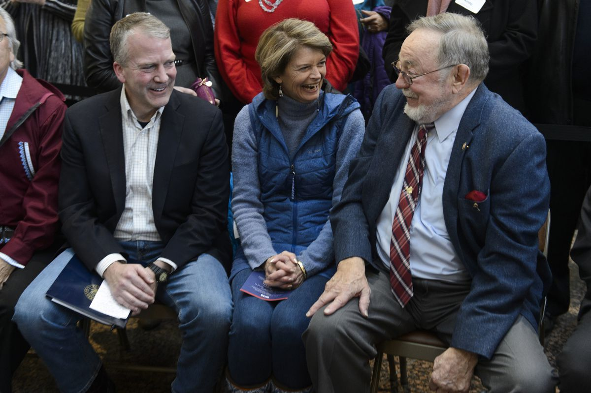 Senators Dan Sullivan and Lisa Murkowski talk with Rep. Don Young as the ceremony begins. A bronze statue of Ted Stevens was unveiled during a ceremony at Ted Stevens Anchorage International Airport on February 23, 2019. Stevens, who died in 2010, served in the U.S. Senate for 40 years. (Marc Lester / ADN)