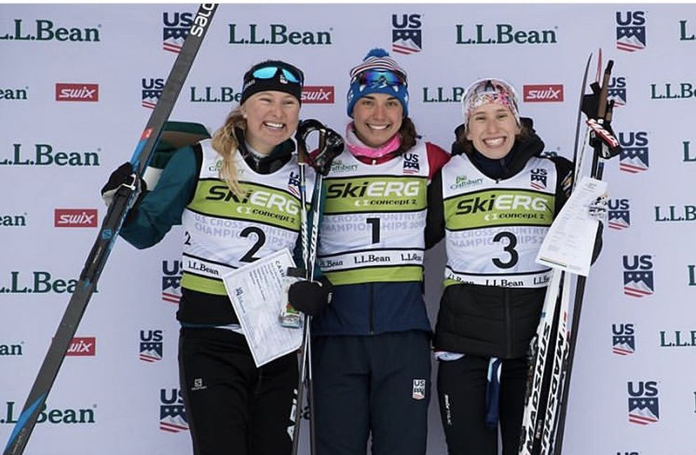 Hannah Halvorsen of APU, left, stands in the silver-medal spot on the podium Tuesday, joining freestyle sprint winner Julia Kern, center, and third-place Kelsey Phinney. (Photo courtesy of APU)