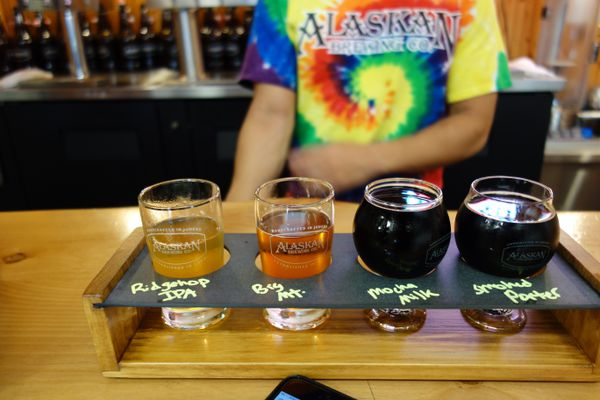 A tasting flight at Alaskan Brewing Company in Juneau. (Photo by Scott McMurren)