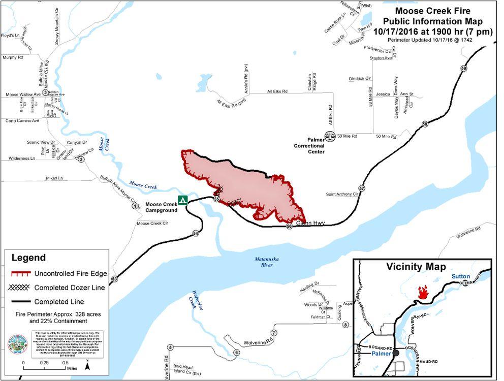 A map of the Moose Creek fire near Sutton as of 7 p.m. Monday. (Matanuska-Susitna Borough)
