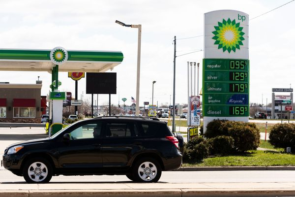 Fuel prices are displayed on a sign outside a BP gas station in Appleton, Wis., on April 20, 2020. International oil majors like BP and Chevron have eliminated thousands of jobs. MUST CREDIT: Bloomberg photo by Lauren Justice