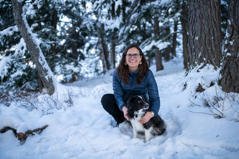 Annette Rearden and her dog Hawkeye, photographed on the Anchorage Hillside on Friday, Jan. 24, 2020. Rearden and Hawkeye encountered a lynx while walking near Service High recently. (Loren Holmes / ADN)