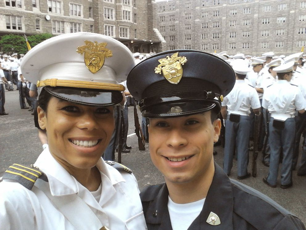 Anna Simmers and Nick Castillo take a self-portrait at West Point before a parade in 2013. Simmers and Castillo were classmates at ACS, and Castillo a year behind Simmers at West Point. (Photo courtesy of Anna Simmers)