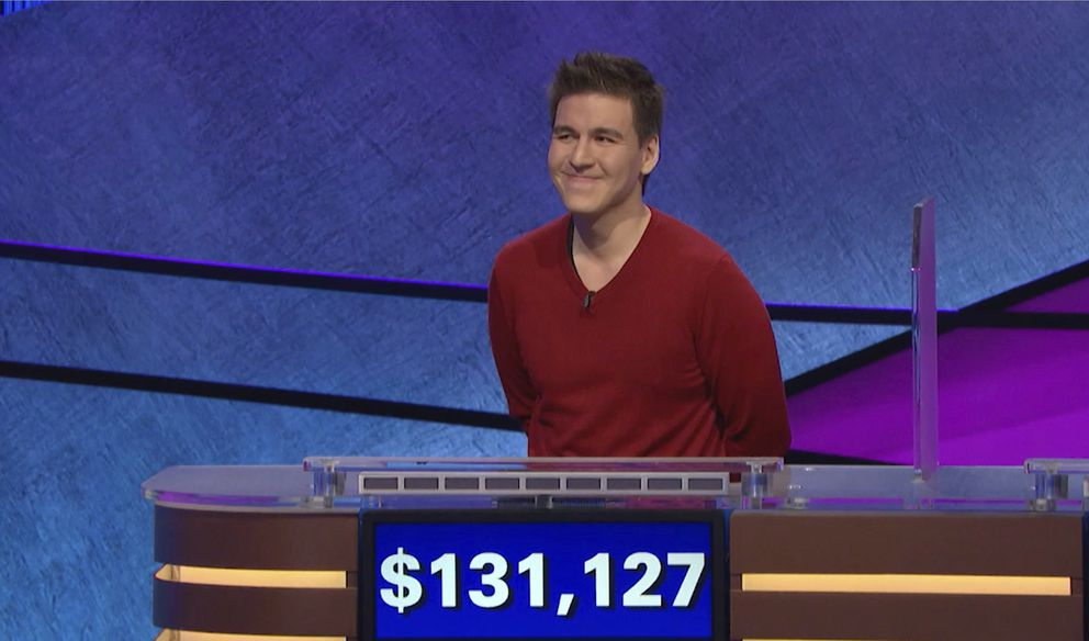 FILE - This file image made from video and provided by Jeopardy Productions, Inc. shows 'Jeopardy! ' contestant James Holzhauer on an episode that aired on April 17, 2019. On his 14th appearance Tuesday, April 23, 2019, Holzhauer eclipsed the $1 million mark in winnings. (Jeopardy Productions, Inc. via AP)