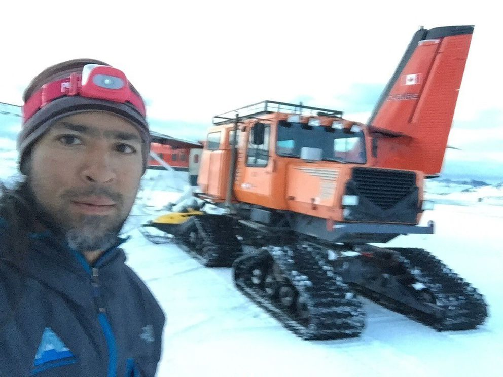 Thai Verzone made a self portrait in front of a snowcat that was used in the transfer of the patients on Antarctica. (Courtesy of Thai Verzone)