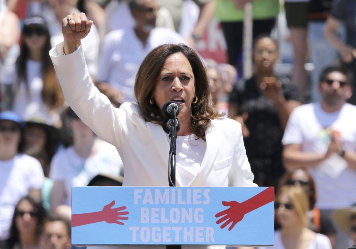 FILE - In this June 30, 2018, file photo, U.S. Sen. Kamala Harris, D-Calif., speaks at the