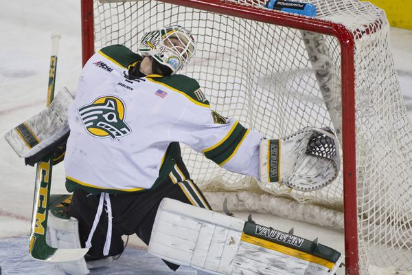 UAA goalie Olivier Mantha watches a puck get by him in the first period. The goal was scored by Ferris State's Corey Mackin. UAA hosted Ferris State in hockey on Friday, November 13, 2015, at the Sullivan Arena.