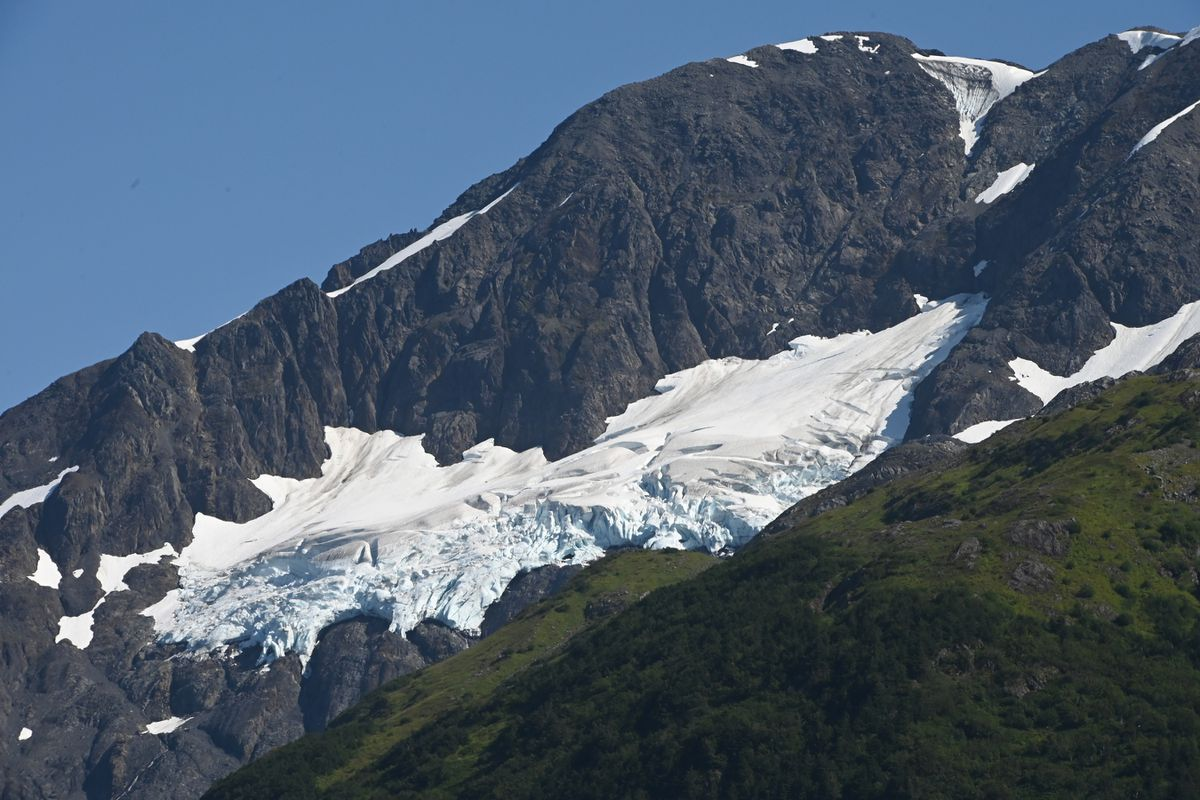 A hanging glacier visible from Portage Lake in the Chugach National Forest on Sunday, August 16, 2020. (Bill Roth / ADN)