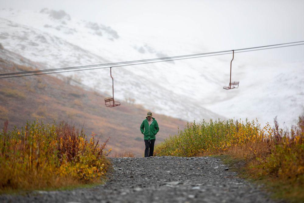 Stuart Lyle hikes at Arctic Valley on Saturday, Sept. 21, 2019. (Loren Holmes / ADN)