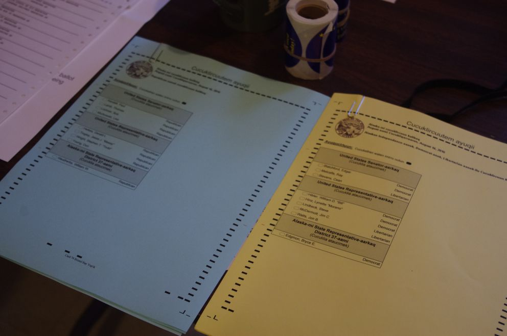 Sample primary election ballots were provided in Yup'ik at the Manokotak polling place on Aug. 16, 2016. (Molly Dischner / Bristol Bay Times)