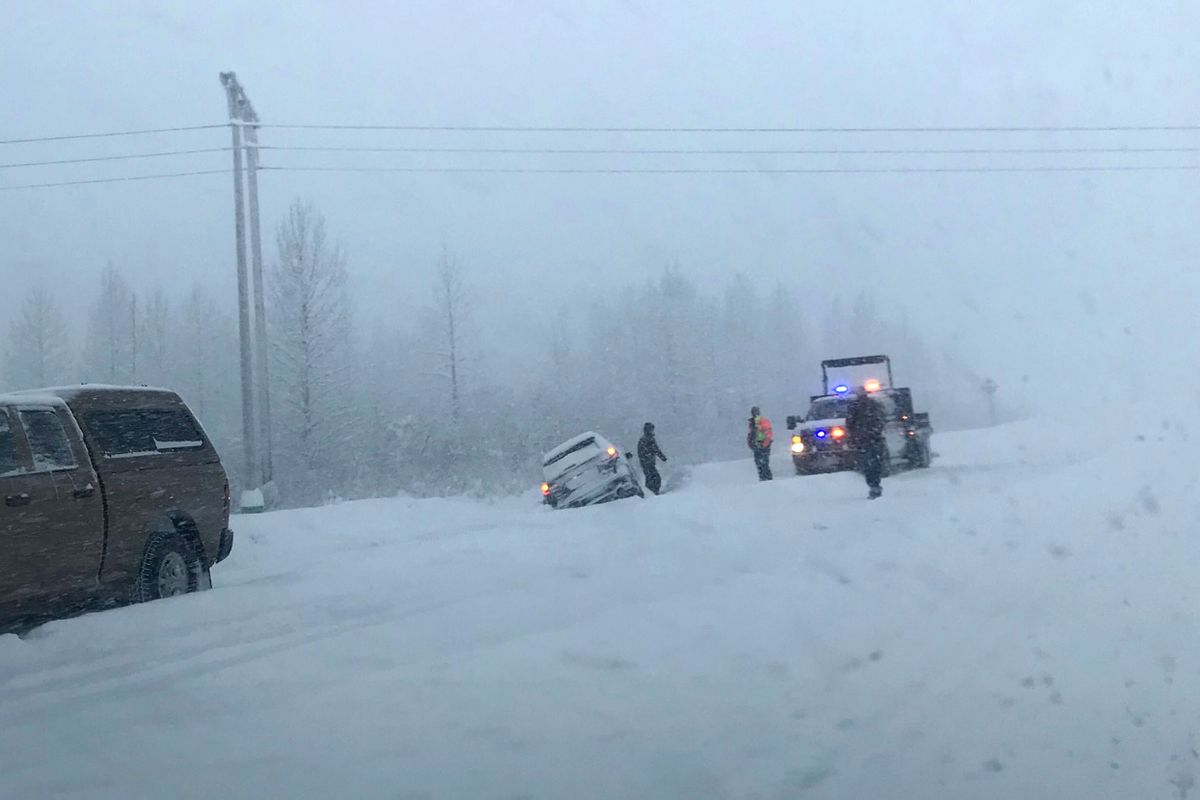 A car went off the road near Mile 78 of the Seward Highway south of the Portage turnoff on Monday, Jan. 27, 2020. (Vicky Ho / ADN)