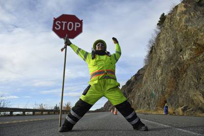 Road flair: This Seward Highway flagger is adding style to stop-and-go signals