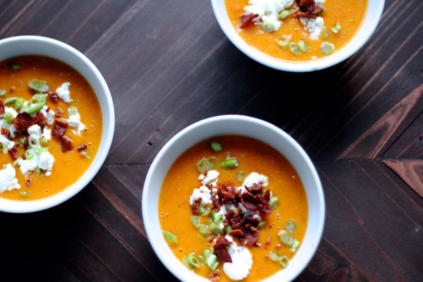 Roasted butternut squash soup with bacon and goat cheese. (Maya Wilson / Alaska from Scratch)