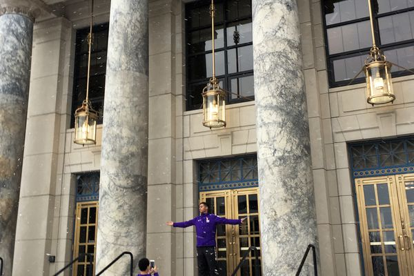 Two basketball players from Fairbanks' Lathrop High School pose for a photo on the steps of the Alaska Capitol on Friday, February 10, 2017. The Malemutes were in town for games against Thunder Mountain and Juneau-Douglas high schools. (Nathaniel Herz / Alaska Dispatch News)