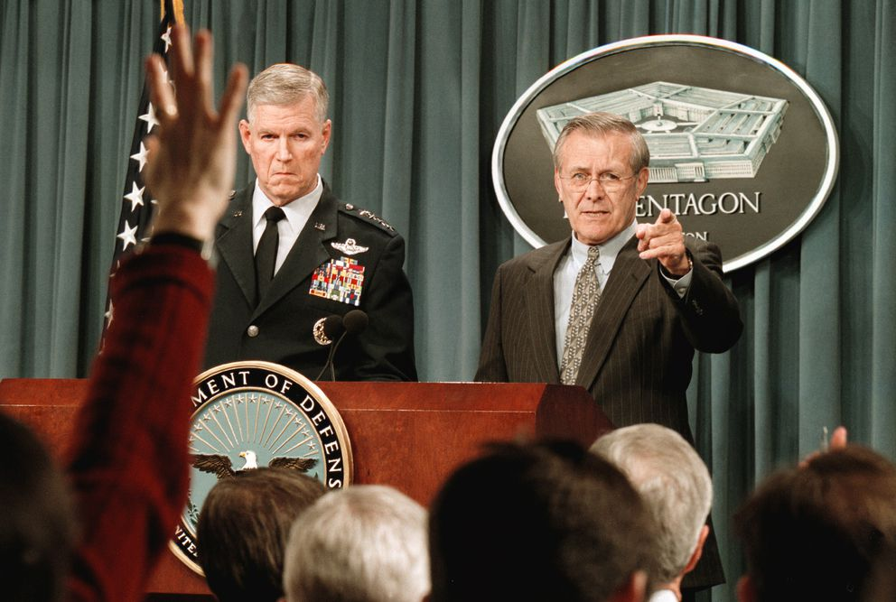 Air Force Gen. Richard Myers, chairman of the Joint Chiefs of Staff, left, and Defense Secretary Donald Rumsfeld during a March 4, 2002, news conference at the Pentagon on two U.S. helicopters that went down in Afghanistan. (Washington Post photo by Robert A. Reeder)