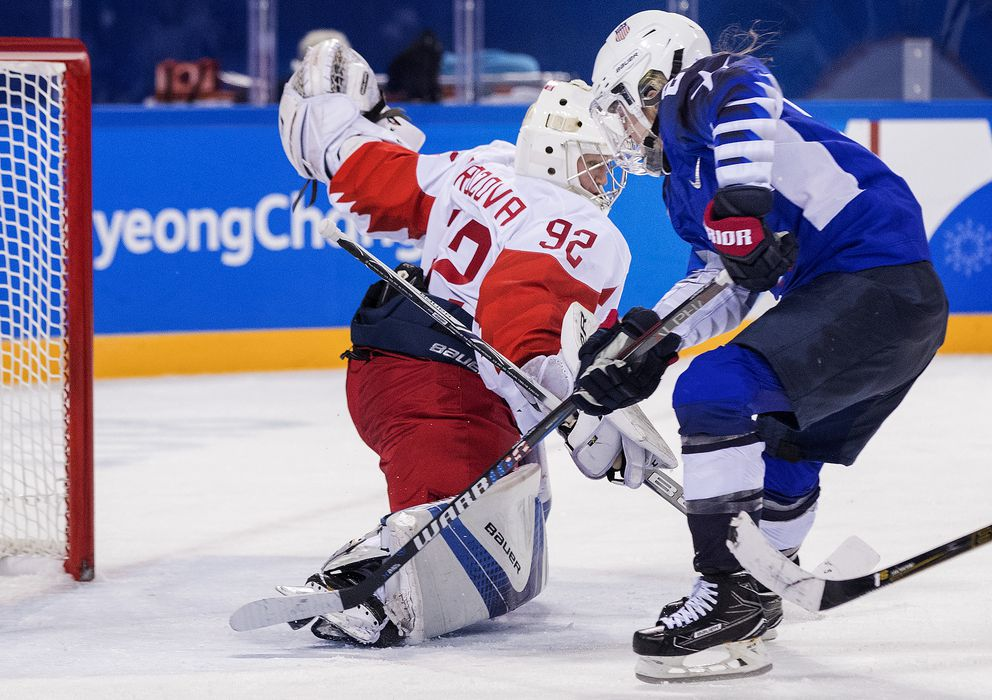 Hockey USA vs. Olympic Athletes from Russia. Hannah Brandt (20) shot the puck past goalie Nadezhda Morozova for a goal in the third period, on February 13, 2018, in South Korea, during the 2018 Pyeongchang Winter Olympics.
